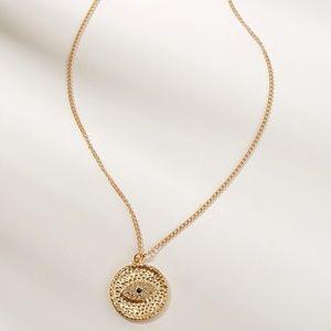 Gold Evil Eye 🧿 Rhinestone Pendant Necklace
